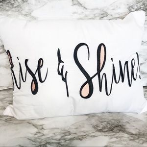 Rise and shine embroidered throw pillow